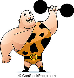 Strongman - A cartoon strongman with a dumbbell.