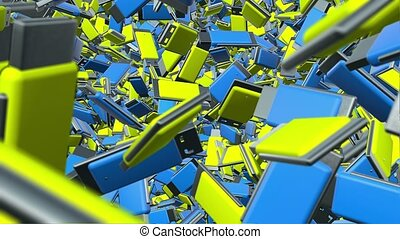 Abstract Usb flash drives in blue and yellow