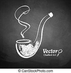 Chalkboard drawing of smoking pipe Vector illustration...