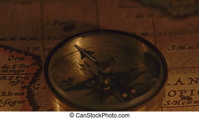 Zoom out view of the compass on a map where there are two...