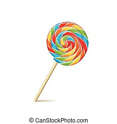Colorful lollipop isolated on white vector - Colorful...