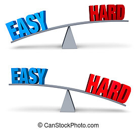 """Weighing Easy And Hard Set - A blue """"EASY"""" and red """"HARD""""..."""