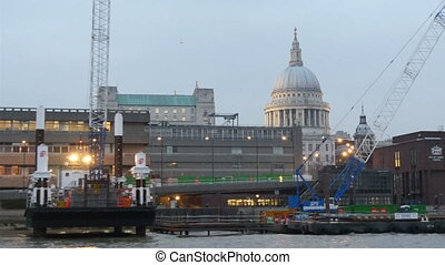View of the St. Paul church while on Thames river. Cruising...