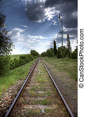Railroad tracks in nature - Old Raill road without trains...