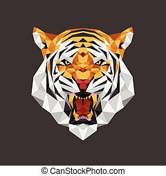 Tiger head polygon geometric - Vector illustration concept...