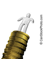 Succes man with coins - Winner standing on coins golden...