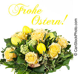 Easter flowers bouquet with eggs decoration. greeting card...