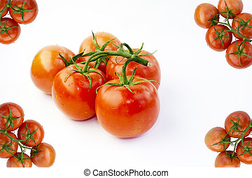 Stem Tomatoes and Four Corners Tomato Frame - Red Fresh Ripe...