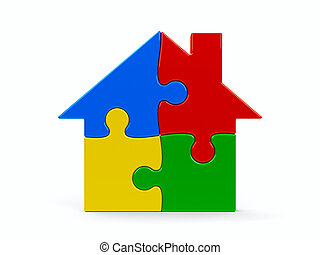 House puzzle - Abstract color puzzle house isolated on a...