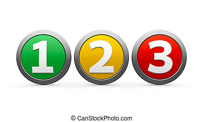 Icons numbers 1 2 3 - Icons numbers 1, 2, 3 (one, two,...