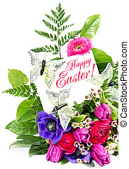Happy Easter Card Concept - Happy Easter Spring Flowers Card...