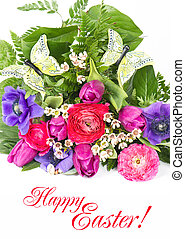 Happy Easter. Card Concept - Happy Easter. colorful flowers...