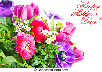 Mother's Day Concept. Card with colorful flowers.