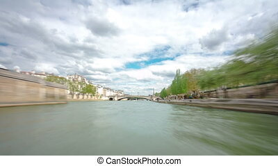 Paris The excursion motor ship floats down the river Seine...