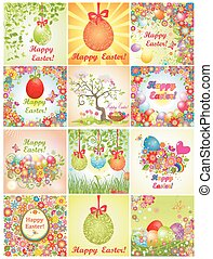 Collection of easter greeting cards with colorful flowers...