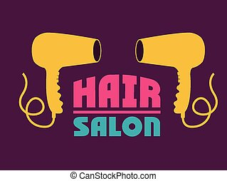 Hair Salon design over purple background, vector...