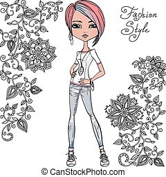 Vector fashion hipster girl - Cute beautiful fashionable...