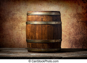 Barrel for beverages - Wooden barrel on a table and textured...