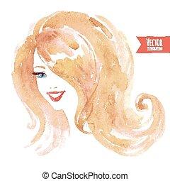 Watercolor smiling girl.
