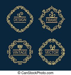 Set outline monograms frame Can be used as logo of...
