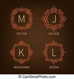 Set outline monograms frame. Can be used as logo of...