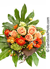 colorful spring flowers bouquet with lush foliage on white...