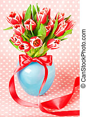 fresh spring tulips in a vase