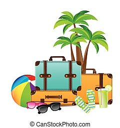 Summer Vacation design over white background, vector...