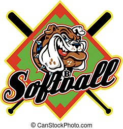 bulldog softball design with mascot head