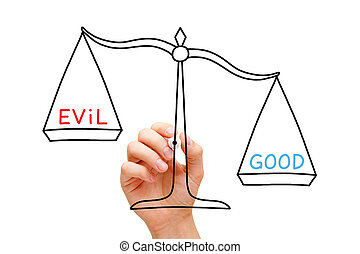 Good Evil Scale Concept - Hand drawing Good or Evil scale...