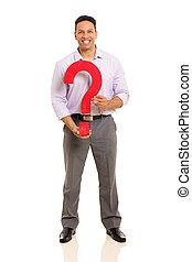 middle aged man holding question mark