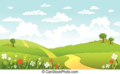 Green Landscape and the road. - The road in green fields,...