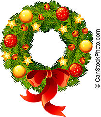 Christmas wreath - Vector illustration - Beautifully...