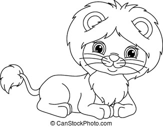 Lion lies coloring page - Cute lion cub lies on a white...