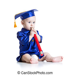 Toddler in academician clothes - Toddler boy with big pencil...