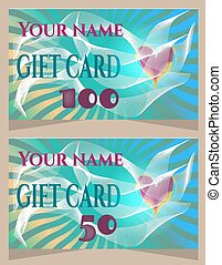 Elegant, blue gift card with text and heart