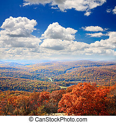 The foliage scenery from the top of Bear Mountain in New...
