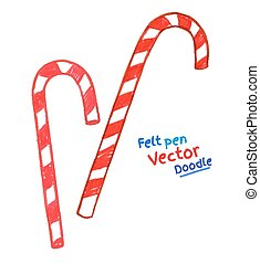 Childlike felt pen drawing of Christmas candy cane. Vector...