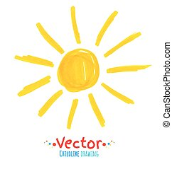 Childlike drawing of sun. Vector illustration. Isolated.