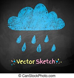 Chalked childlike drawing of rainy cloud. Vector...