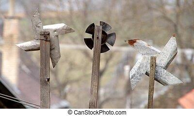 Pinwheel from sheet - Three homemade pinwheel of sheet metal...