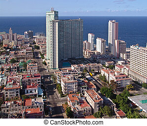 Modern Havana - Top view of modern buildings, mixed with the...