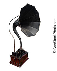 Antique Cylinder Gramophone isolated wth clipping path