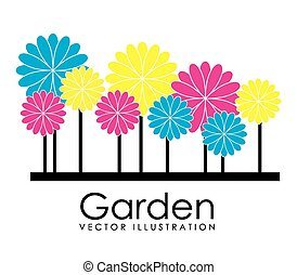 Garden design over white background, vector illustration