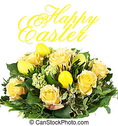 easter flower bouquet with eggs decoration - happy easter!...