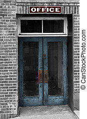 Derelict - The office door of an abandoned business