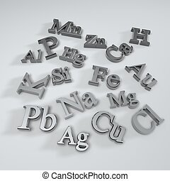 chemical element symbols isolate on white background
