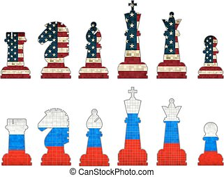Chess pieces with USA flag