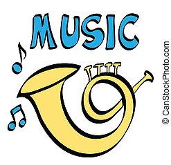 caricatura, trompete, e, música,