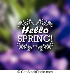 Typographic design with text - Hello Spring. Typographic...